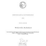 Certyfikat 1994.09.05 E.A.C.M.F.S Hague Holandia