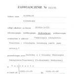 Certyfikat 1995.12.04 szkolenie Warszawa