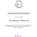 Certyfikat 1996.09.03 E.A.C.M.F.S Zurych Szwajcaria