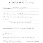 Certyfikat 1997.03.24 szkolenie Warszawa