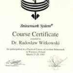 Certyfikat 1997.03.27 szkolenie Warszawa
