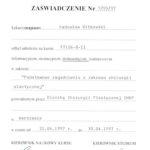 Certyfikat 1997.04.30 szkolenie Warszawa