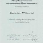 Certyfikat 1997.10.26 Kongres Warszawa