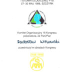 Certyfikat 1998.05.27 30 kongres Szczyrk