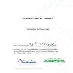 Certyfikat 1998.09.01 szkolenie Helsinki Finlandia
