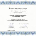 Certyfikat 2001.10.27 szkolenie Warszawa