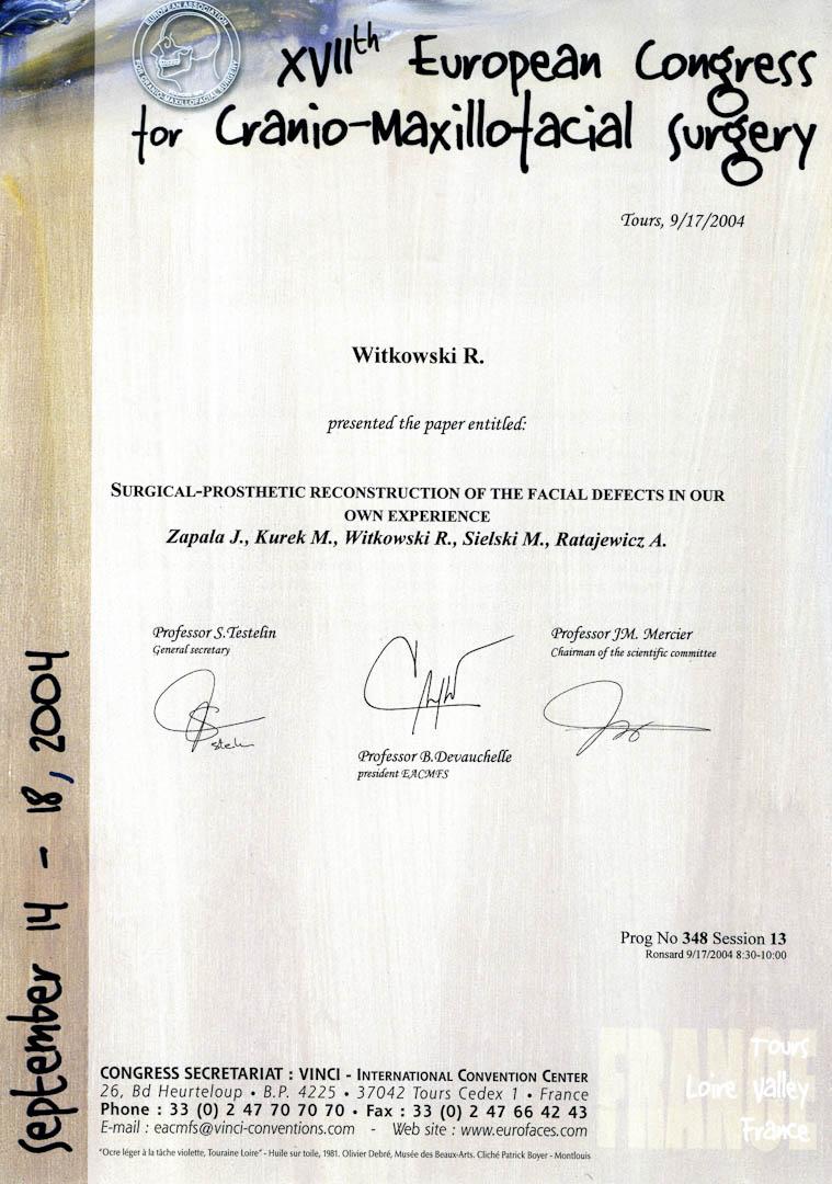 Certyfikat 2004.09.17 E.C.M.F.S. Tours