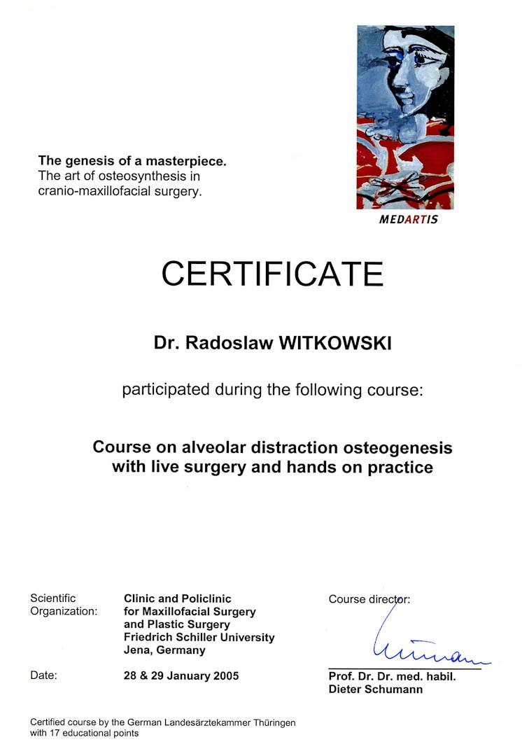 Certyfikat 2005.01.28 szkolenie Niemcy