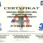 Certyfikat 2005.07.29 szkolenie Krakow
