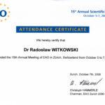 Certyfikat 2006.10.07 szkolenie Zurych Szwajcaria