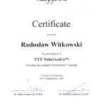 Certyfikat 2007.09.10 szkolenie Zurych Szwajcaria