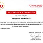 Certyfikat 2007.10.25 szkolenie Barcelona Hiszpania