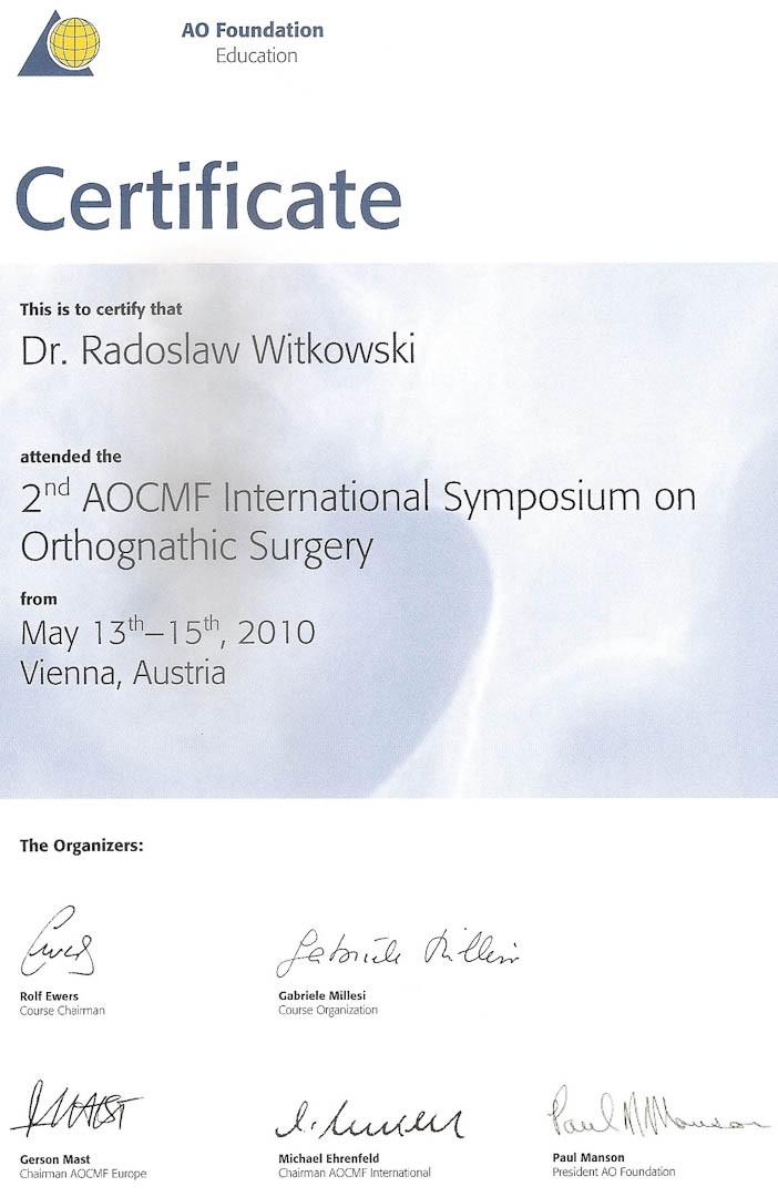 Certyfikat 2010.05.13 szkolenie Wieden Austria