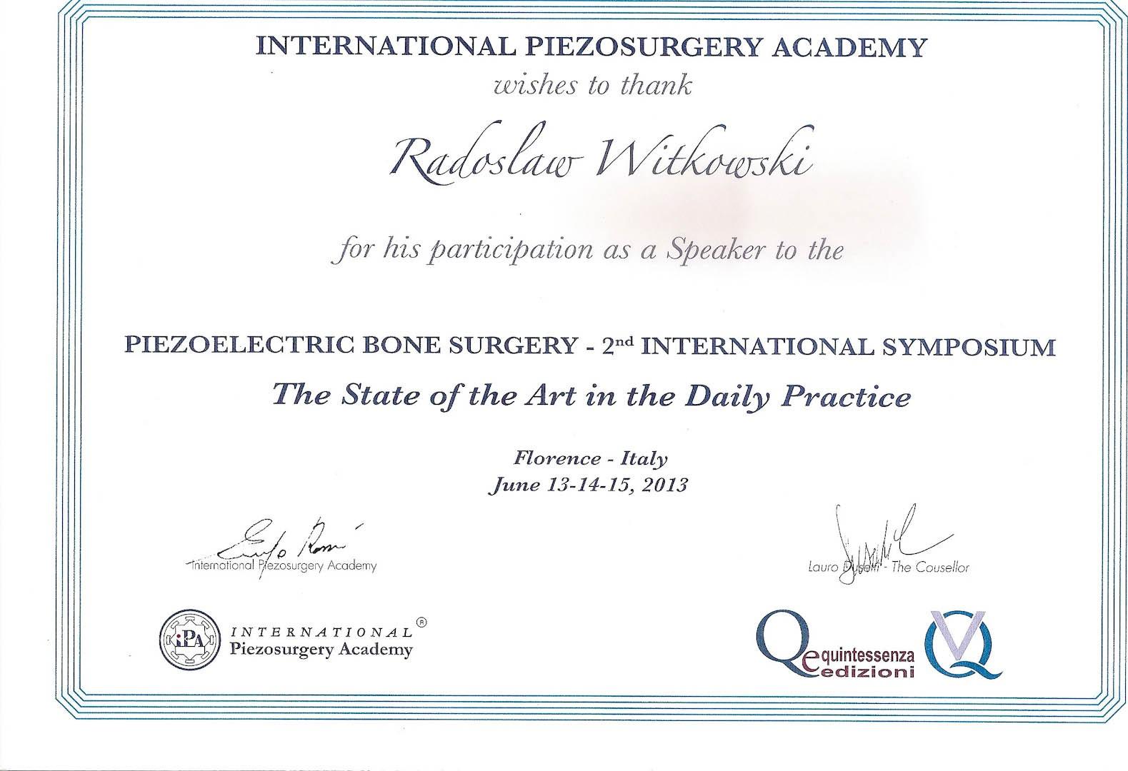 Certyfikat 2013.06.13 szkolenie Florecja Wlochy