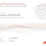 Certyfikat 2015.06.25 27 symposium Monako